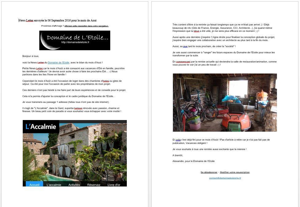 News Letter de Aout 2016 pour le Domaine de l'Etoile !