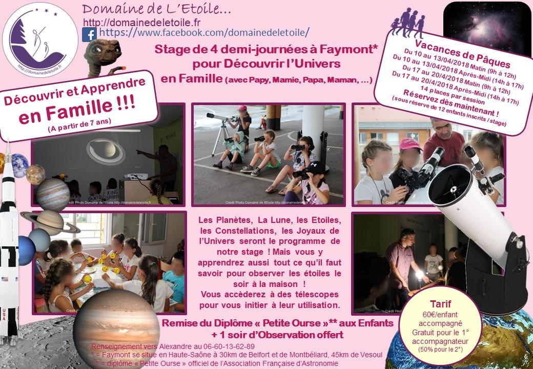 Stages Astronomie pour les vacances de Paques !