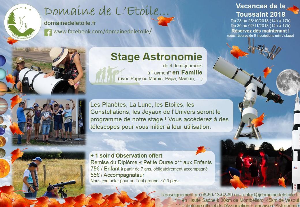 Stages Astronomie pendant les Vacances de la Toussaint 2018 !