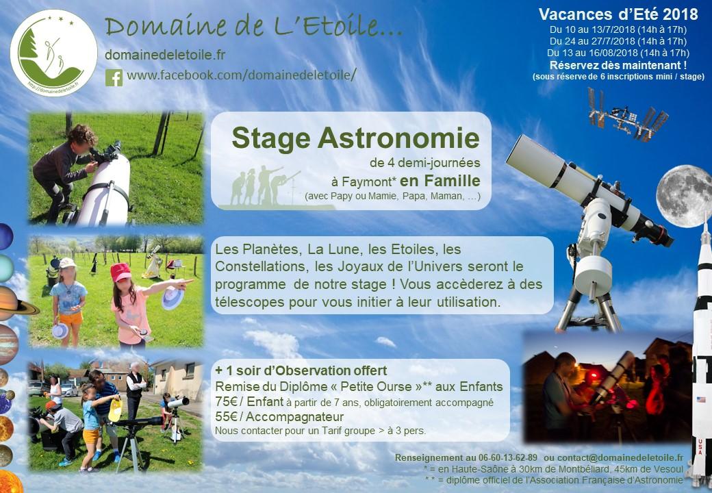 Stages Astronomie pendant les Vacances d'Eté 2018 !