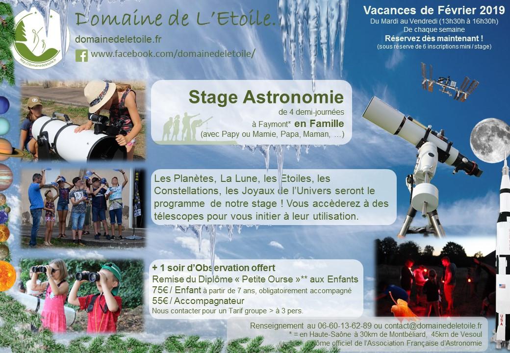 Stages Astronomie pendant les Vacances de Février 2019 !