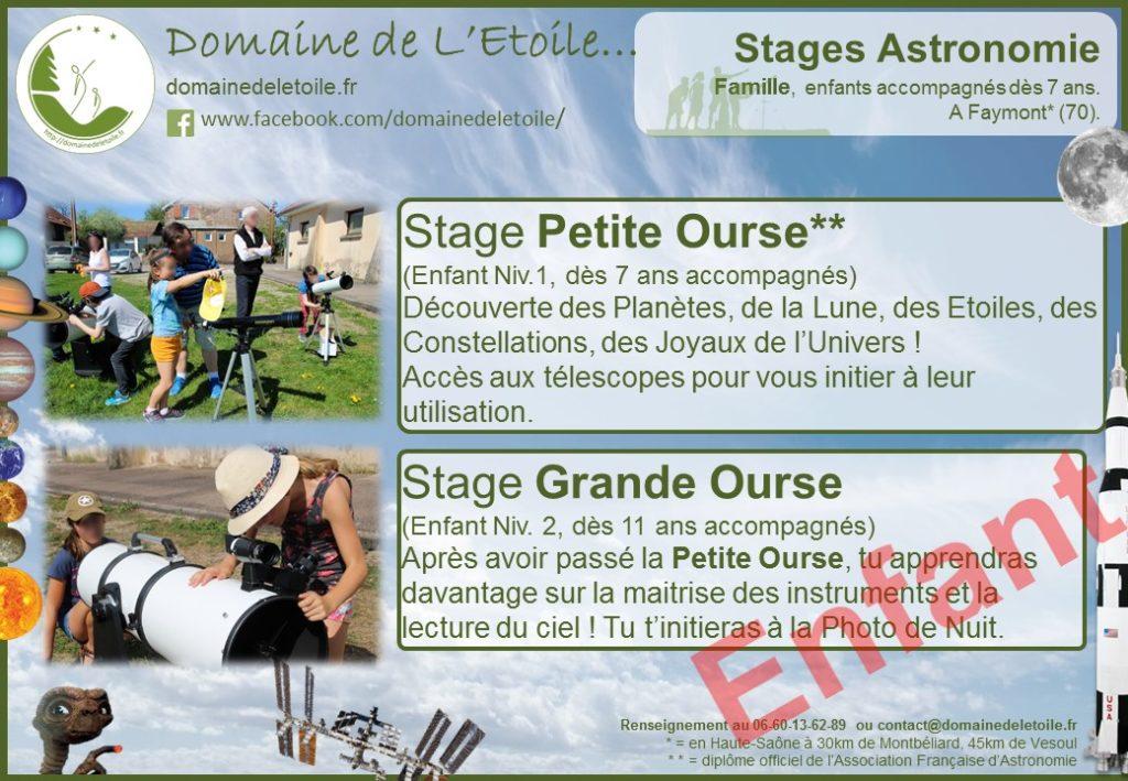 Stages Astronomie pour enfants dès 7 ans