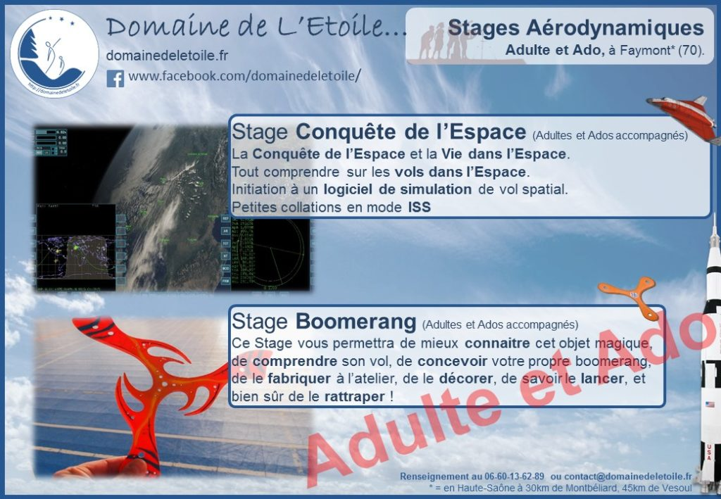 Stages Astronomie et stage Boomerang pour Ados